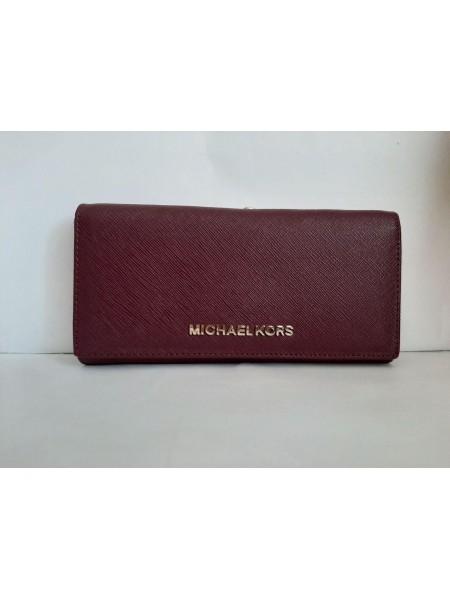 Бордовый кошелек из экокожи